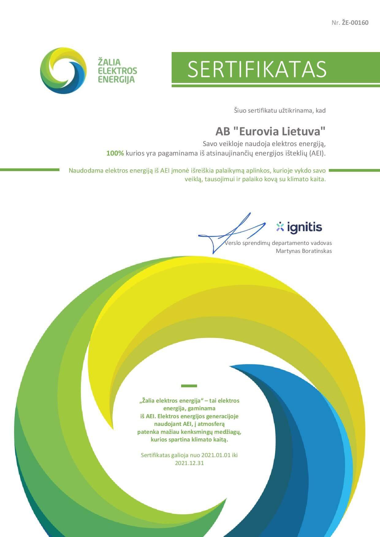 Atnaujinome žaliosios elektros energijos sertifikatą!